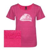 Ladies Dark Fuchsia Heather Tri-Blend Lace Tee-Official Logo