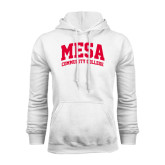 White Fleece Hoodie-Mesa Community College Arched