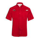Columbia Tamiami Performance Red Short Sleeve Shirt-Official Logo