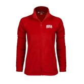 Ladies Fleece Full Zip Red Jacket-Mesa Community College Arched