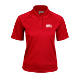 Ladies Red Textured Saddle Shoulder Polo-Mesa Community College Arched