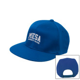Royal Flat Bill Snapback Hat-Mesa Community College Arched