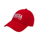 Red Twill Unstructured Low Profile Hat-Mesa Community College Arched