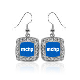 Crystal Studded Square Pendant Silver Dangle Earrings-MCHP
