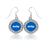 Crystal Studded Round Pendant Silver Dangle Earrings-MCHP