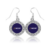 Crystal Studded Round Pendant Silver Dangle Earrings-Secondary Mark