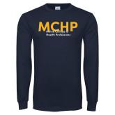 Navy Long Sleeve T Shirt-Overlapping
