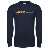 Navy Long Sleeve T Shirt-Horizontal