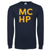 Navy Long Sleeve T Shirt-Stacked
