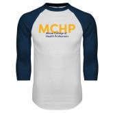 White/Navy Raglan Baseball T Shirt-Overlapping