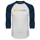 White/Navy Raglan Baseball T Shirt-Horizontal