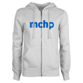 ENZA Ladies White Fleece Full Zip Hoodie-MCHP