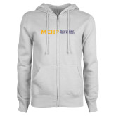 ENZA Ladies White Fleece Full Zip Hoodie-Horizontal