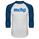 White/Royal Raglan Baseball T Shirt-MCHP