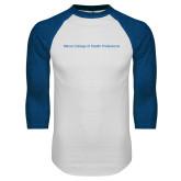 White/Royal Raglan Baseball T Shirt-Maine College of Health Professions