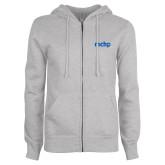 ENZA Ladies Grey Fleece Full Zip Hoodie-MCHP