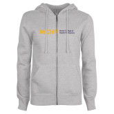 ENZA Ladies Grey Fleece Full Zip Hoodie-Horizontal