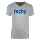 Next Level V Neck Heather Grey T Shirt-Primary Mark