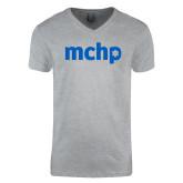 Next Level V Neck Heather Grey T Shirt-MCHP