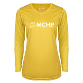 Ladies Syntrel Performance Gold Longsleeve Shirt-Secondary Mark