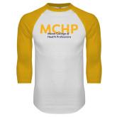 White/Gold Raglan Baseball T Shirt-Overlapping