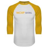 White/Gold Raglan Baseball T Shirt-Horizontal