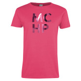 Ladies Fuchsia T Shirt-Stacked Foil