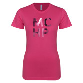 Next Level Ladies SoftStyle Junior Fitted Fuchsia Tee-Stacked Foil