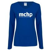 Ladies Royal Long Sleeve V Neck T Shirt-Primary Mark