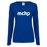 Ladies Royal Long Sleeve V Neck T Shirt-MCHP