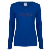Ladies Royal Long Sleeve V Neck T Shirt-Primary Mark Dark Blue Glitter