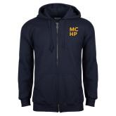 Navy Fleece Full Zip Hoodie-Stacked