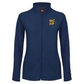 Ladies Fleece Full Zip Navy Jacket-Stacked