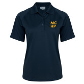 Ladies Navy Textured Saddle Shoulder Polo-Stacked