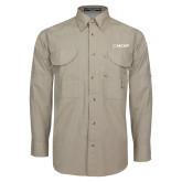 Khaki Long Sleeve Performance Fishing Shirt-Secondary Mark