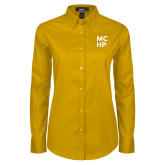 Ladies Gold Twill Button Down Long Sleeve-Stacked