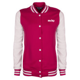 Ladies Pink Raspberry/White Fleece Letterman Jacket-MCHP