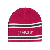 Pink/Charcoal/White Striped Knit Beanie-Secondary Mark