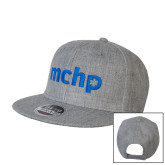 Heather Grey Wool Blend Flat Bill Snapback Hat-MCHP