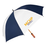 62 Inch Navy/White Vented Umbrella-Overlapping