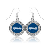 Crystal Studded Round Pendant Silver Dangle Earrings-McLennan Community College