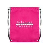 Pink Drawstring Backpack-McLennan Community College