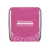 Nylon Pink Bubble Patterned Drawstring Backpack-McLennan Community College