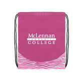 Nylon Zebra Pink/White Patterned Drawstring Backpack-McLennan Community College