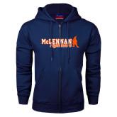 Navy Fleece Full Zip Hoodie-McLennan Highlanders