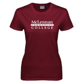 Ladies Maroon T Shirt-McLennan Community College