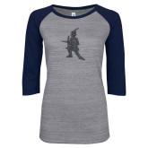 ENZA Ladies Athletic Heather/Navy Vintage Triblend Baseball Tee-Highlander Graphite Soft Glitter