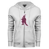 ENZA Ladies White Fleece Full Zip Hoodie-Highlander Pink Glitter