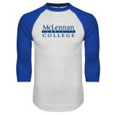 White/Royal Raglan Baseball T Shirt-McLennan Community College