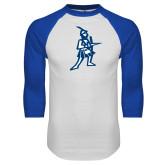White/Royal Raglan Baseball T Shirt-Highlander